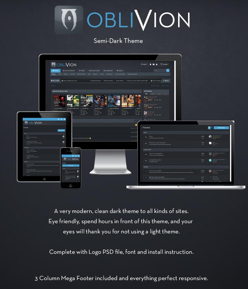 Oblivion dark theme with blue focus 2.1